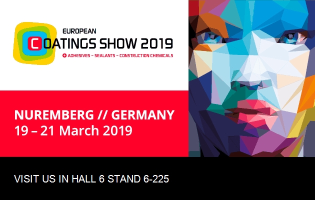 Visit us at EUROPEAN COATINGS SHOW 19 - 21 March 2019 in